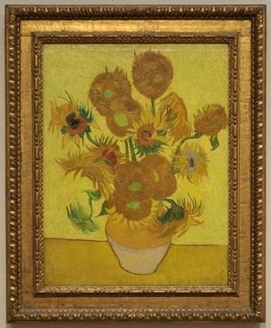 「ひまわり」  1889年作 アムステルダムファン・ゴッホ美術館所蔵。 1887年の夏、 ファン・ゴッホは始めてひまわりを描く。その後いくつかのひまわりの絵を描いたが、この黄色い背景のひまわりが最も有名。
